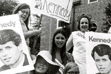 Mount Vernon College students rally for Robert F. Kennedy in 1968