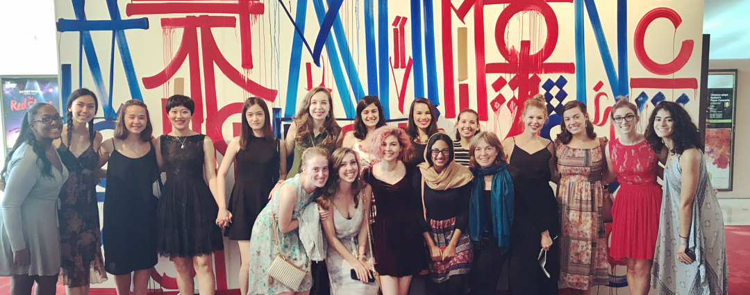 GW Students in front of mural