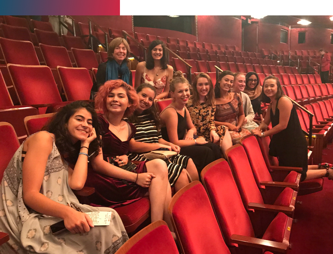 a group of female students at the Kennedy Center